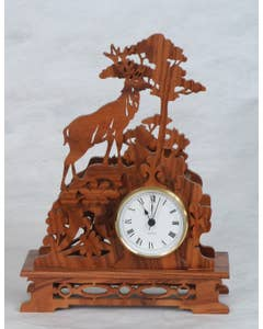 Shelf Clock Deer Pattern