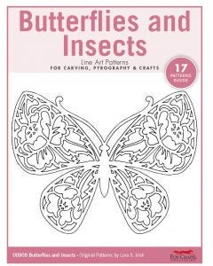 Butterflies and Insects Line Art Patterns For Carving, Pyrography & Crafts - Original Patterns by Lora Irish