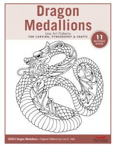 Dragon Medallions Line Art Patterns - For Carving, Pyrography & Crafts - Original Patterns by Lora Irish