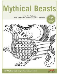 Mythical Beasts Line Art Patterns - For Carving, Pyrography & Crafts - Original Patterns by Lora Irish
