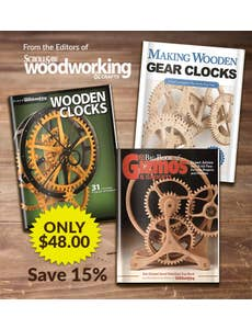 From the Editors of ScrollSaw Woodworking & Crafts - Wooden Gadget and Clock Books - Get These 3 Woodworking Wonders In Your Shop! - Only $48.00 - SAVE 15%