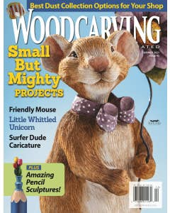 This summer issue of Woodcarving Illustrated shines a spotlight on small but mighty projects! Ranging in size from a whittled aquarium that can fit inside a matchbox to a summery Circle of Chips wall hanging, the projects featured in this issue are perfec